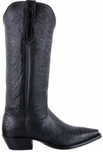 Tony Lama Signature Series Women's Midnight Black Lizard Wingtip Boots - Side