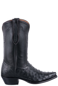 Tony Lama Signature Series Women's Black Full Quill Ostrich Boots - Side