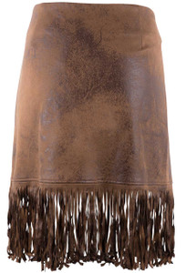 Montana Faux Suede Fringe Short Skirt - Brown -Front