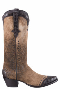 Stallion Women's Distressed Vintage Kidskin and Caiman Cowgirl Boots  - Side