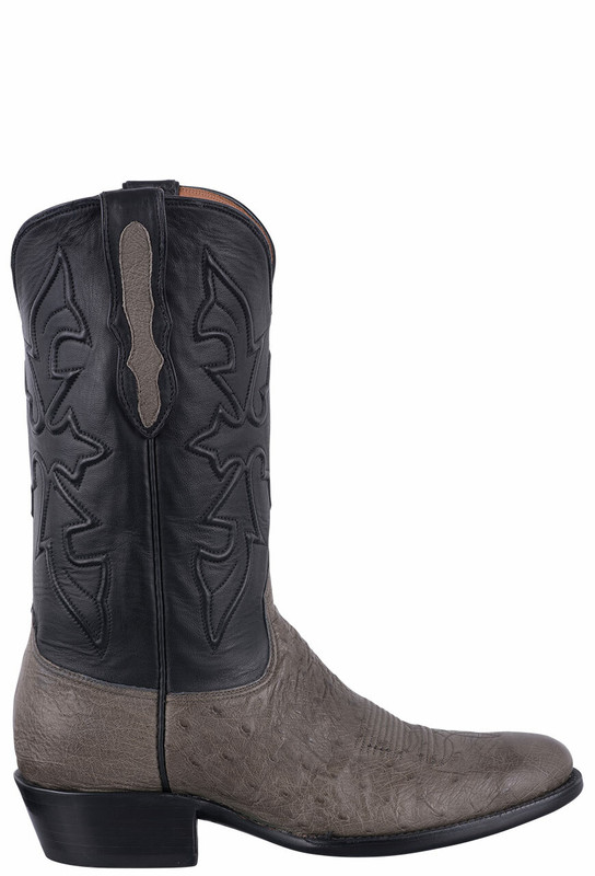 Black Jack for Pinto Ranch Men's Burnished Gray Smooth Ostrich Cowboy Boots - Side