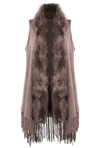 Metric Long Fringe Vest with Faux Fox Fur Collar - Front