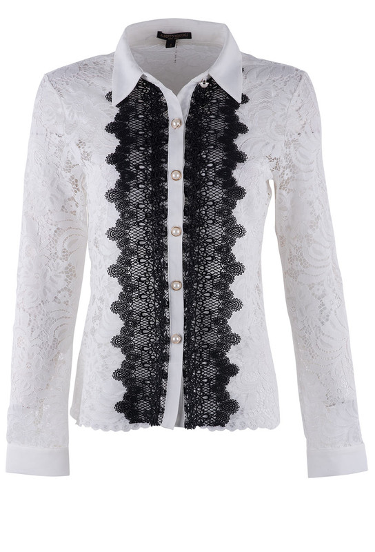 Alberto Makali Ivory Lace Top With Black Plaquard - Front