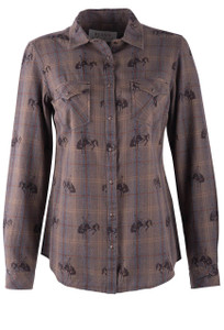 Ryan Michael Women's Plaid Bucking Horse Shirt - Front