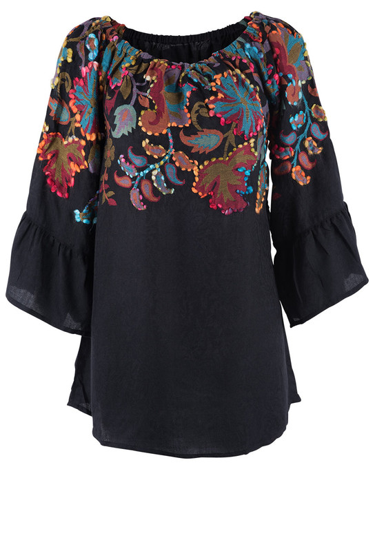 Avani Del Amour Floral Embroidered Jacquard Tunic  - Front