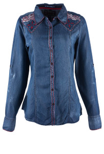Grace in L.A. Denim With Red Stitch Shirt - Front