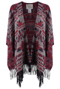 Cripple Creek Scarlet Aztec Shawl With Fringe  - Front