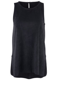 Sleeveless Asymmetrical Side Slit Faux Suede Top - Front