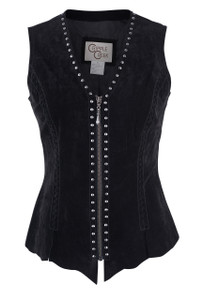 Cripple Creek Raw Edge Black Leather Vest With Studs and Lace -  Front