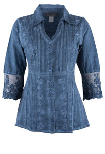 Inca Cottons Lace Sleeve V Neck - Front