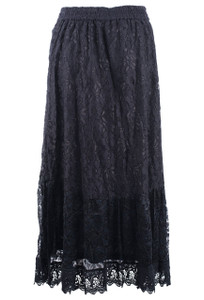 Lola P Black Lace Long Skirt - Front
