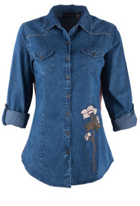 Lola P Denim Shirt With Red Printed Back - Front