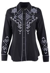 Roper Old West Classics Retro Long Sleeve Aztec Embroidered Top - Front