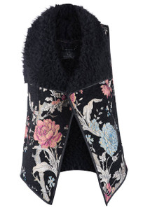 Rino & Pelle Flower Brocade With Faux Fur Vest - Front