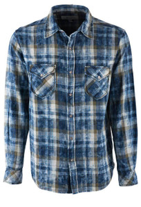 Ryan Michael Indigo and Forest Plaid Snap Shirt - Front