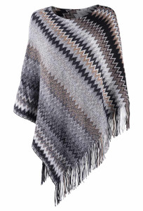 Ryan Michael Zigzag Sweater Poncho  - Front