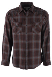 Ryan Michael Embroidered Ombre Slub Plaid Shirt - Front