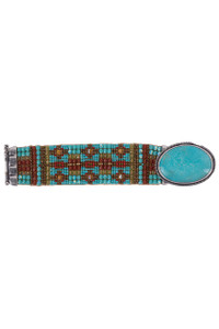 Peyote Bird Chili Rose Large Argan Turquoise With Rust and Turquoise Beads