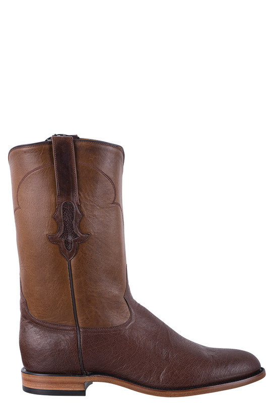 Tony Lama Signature Series Men's Kango Tobacco Smooth Ostrich Roper Boots  - Side