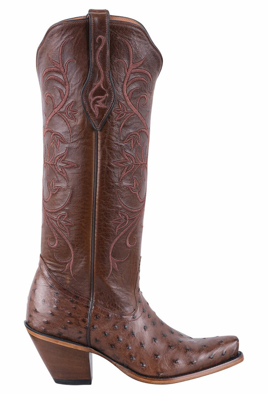 Tony Lama Signature Series Women's Kango Tobacco Full Quill Ostrich and Bourbon Mont Blanc Boots - Side