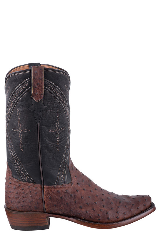 Rios of Mercedes Men's Siena Lux and Fandango Black Full Quill Ostrich Cowboy Boots - Side