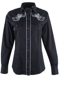 Roper Old West Classics Black with White Roses Embroidered Snap Shirt - Front