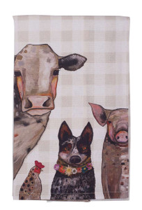 Cattle Dog and Crew Tea Towel - Front