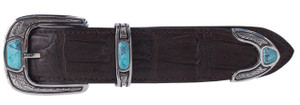 """Chacon 3 Piece Engraved Sterling Silver with Turquoise 1 1/2"""" Buckle Set"""