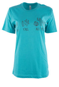 Cowgirl Justice Turquoise Y'all Tee - Front