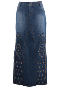 Stetson Embroidered Maxi Denim Long Skirt  - Front