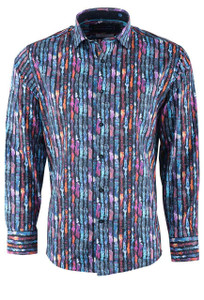 David Smith Australia Licorice Stripe Print Sport Shirt - Front