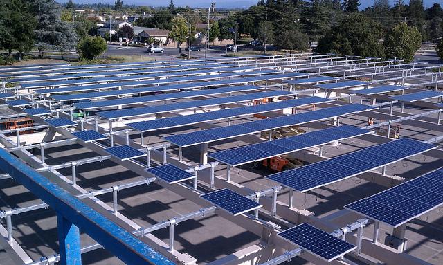 Solar Carports Under Construction At DeAnza College in Cupertino, California (2011)