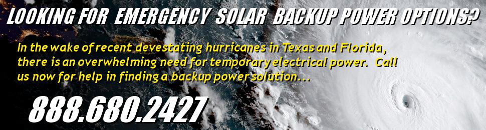 Call 888.680.2427 for emergency solar power and battery backup power solutions.