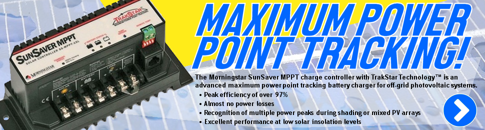 The Morningstar SunSaver MPPT charge controller with TrakStar Technology™ is an advanced maximum power point tracking battery charger for off-grid photovoltaic systems.