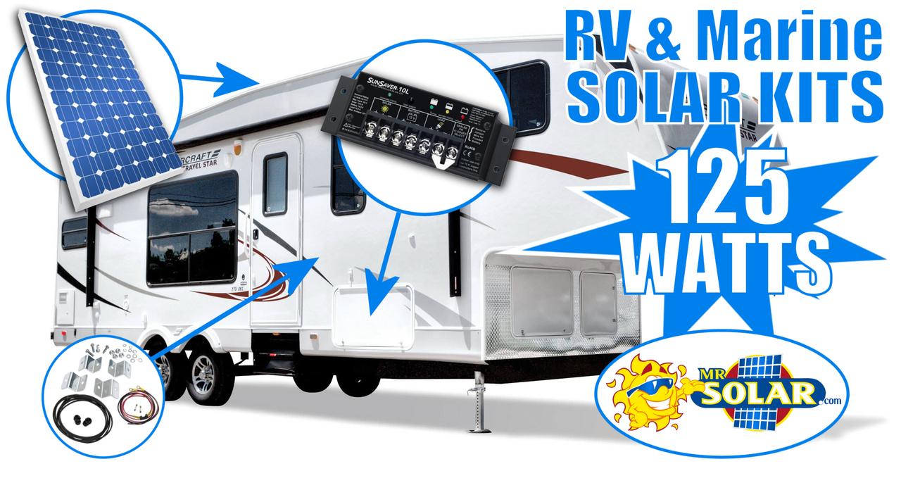 online solar 125 watt rv   marine solar power system kit