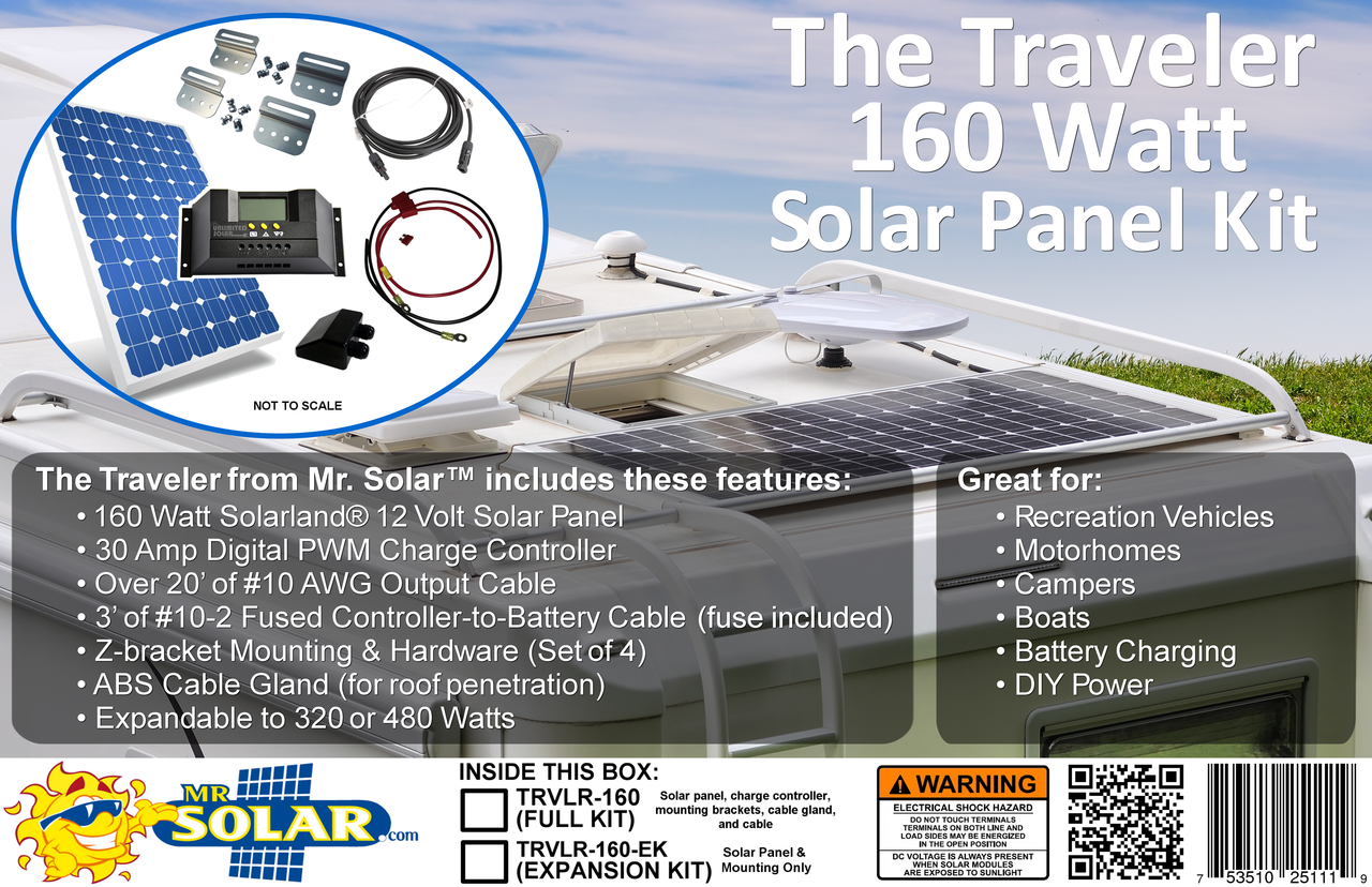 The Traveler 160 Watt Solar Panel Expansion Kit From Mr