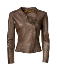 Leather Side Zip Jacket