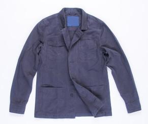 Men's Button Up Coat- Navy