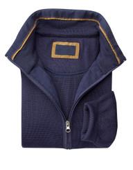 Mens Navy Zip-Up Sweater