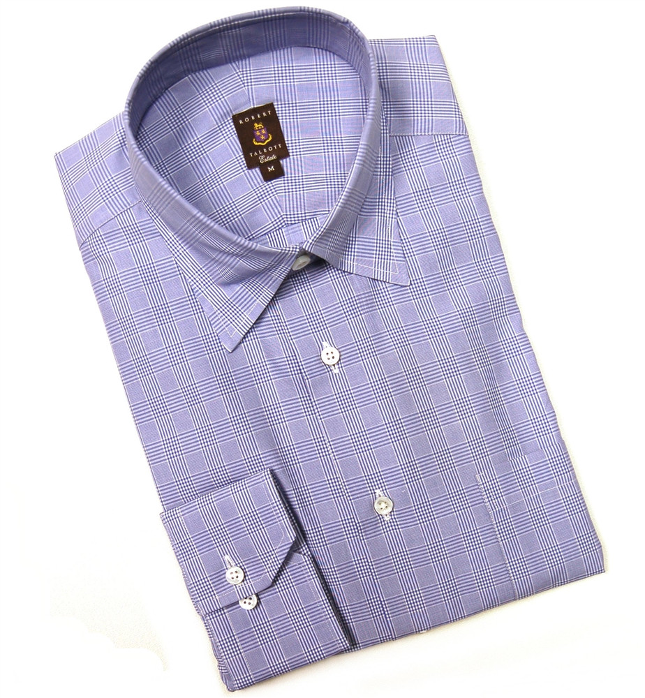 Blue and white check estate sport shirt size medium by for Robert talbott shirts sale