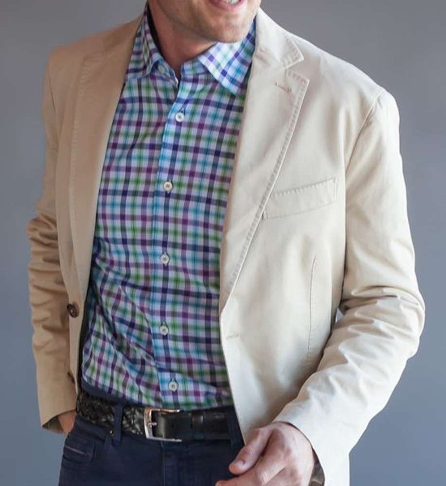 Sky and purple 39 anderson 39 check sport shirt by robert for Robert talbott shirts sale