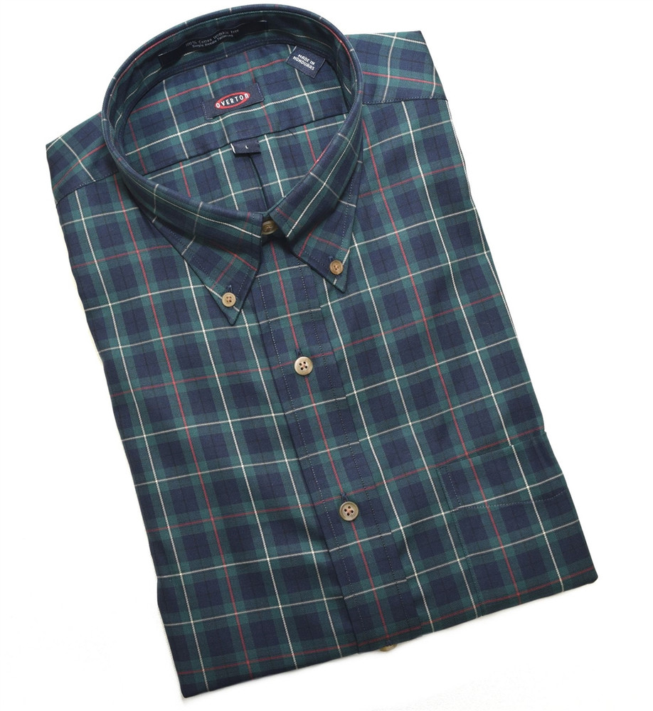 Navy And Green Plaid Button Down Wrinkle Free Sport Shirt