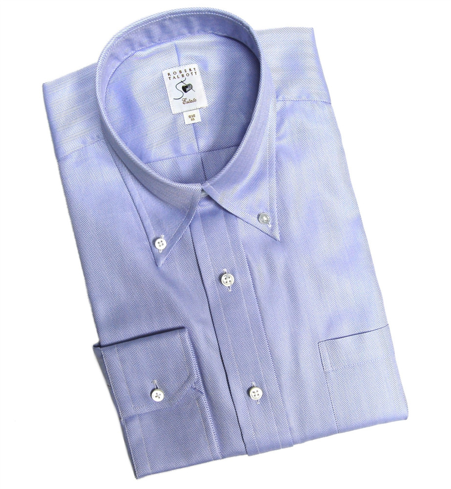 Blue on blue herringbone estate dress shirt size 16 35 for Robert talbott shirts sale