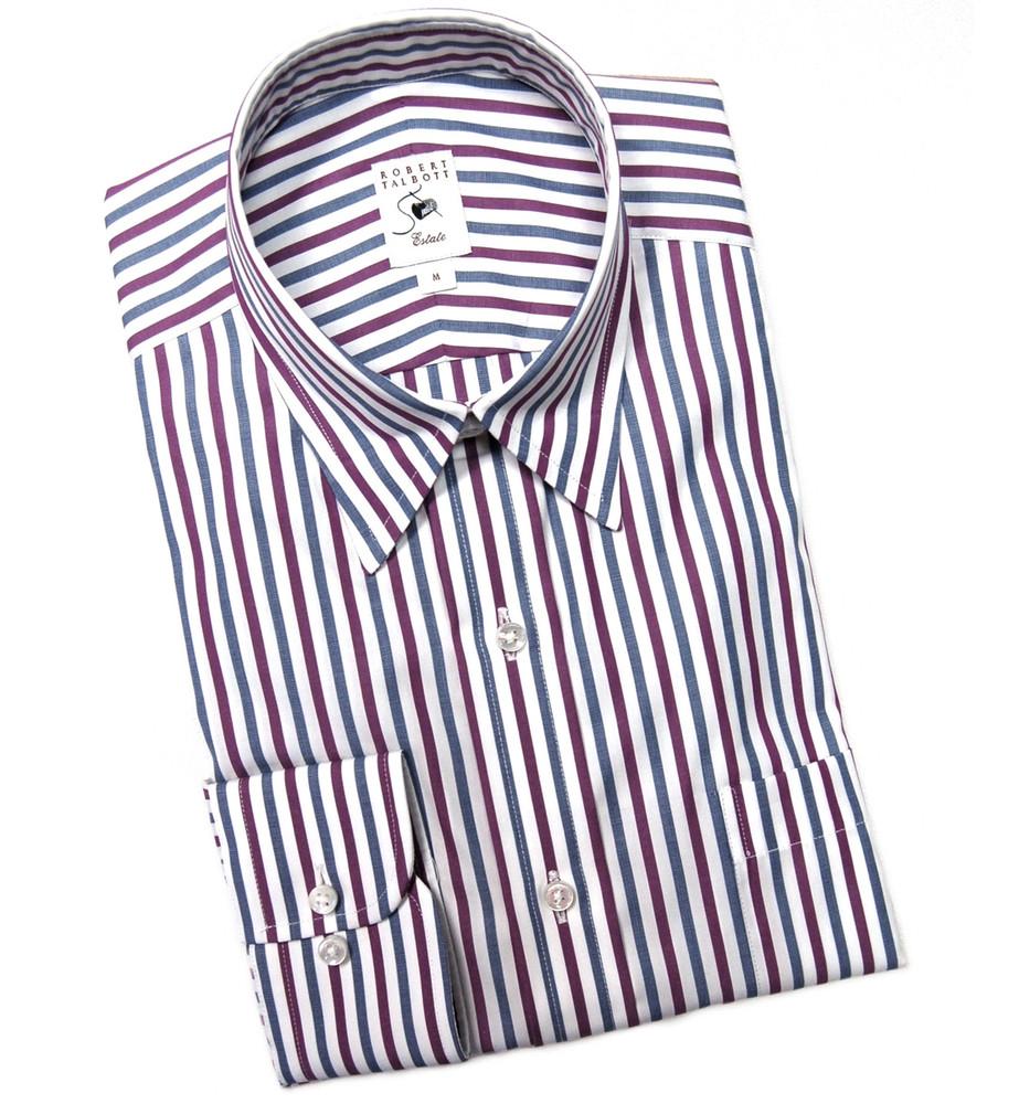 Navy white and purple stripe estate sport shirt by for Robert talbott shirts sale