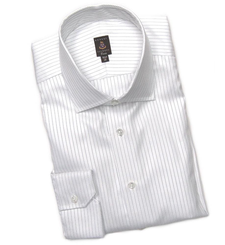 White and navy herringbone stripe estate dress shirt by for White herringbone dress shirt