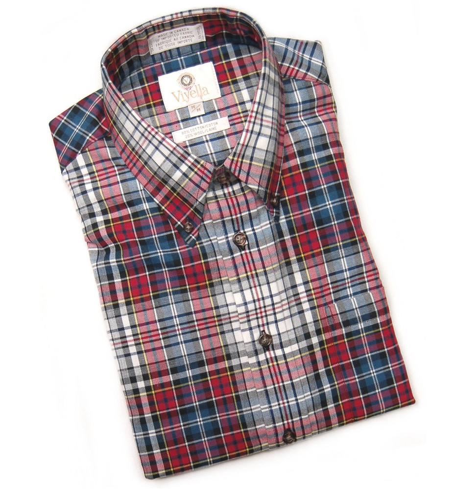 Red blue and winter white plaid shirt size x large by for Red white and blue plaid shirt