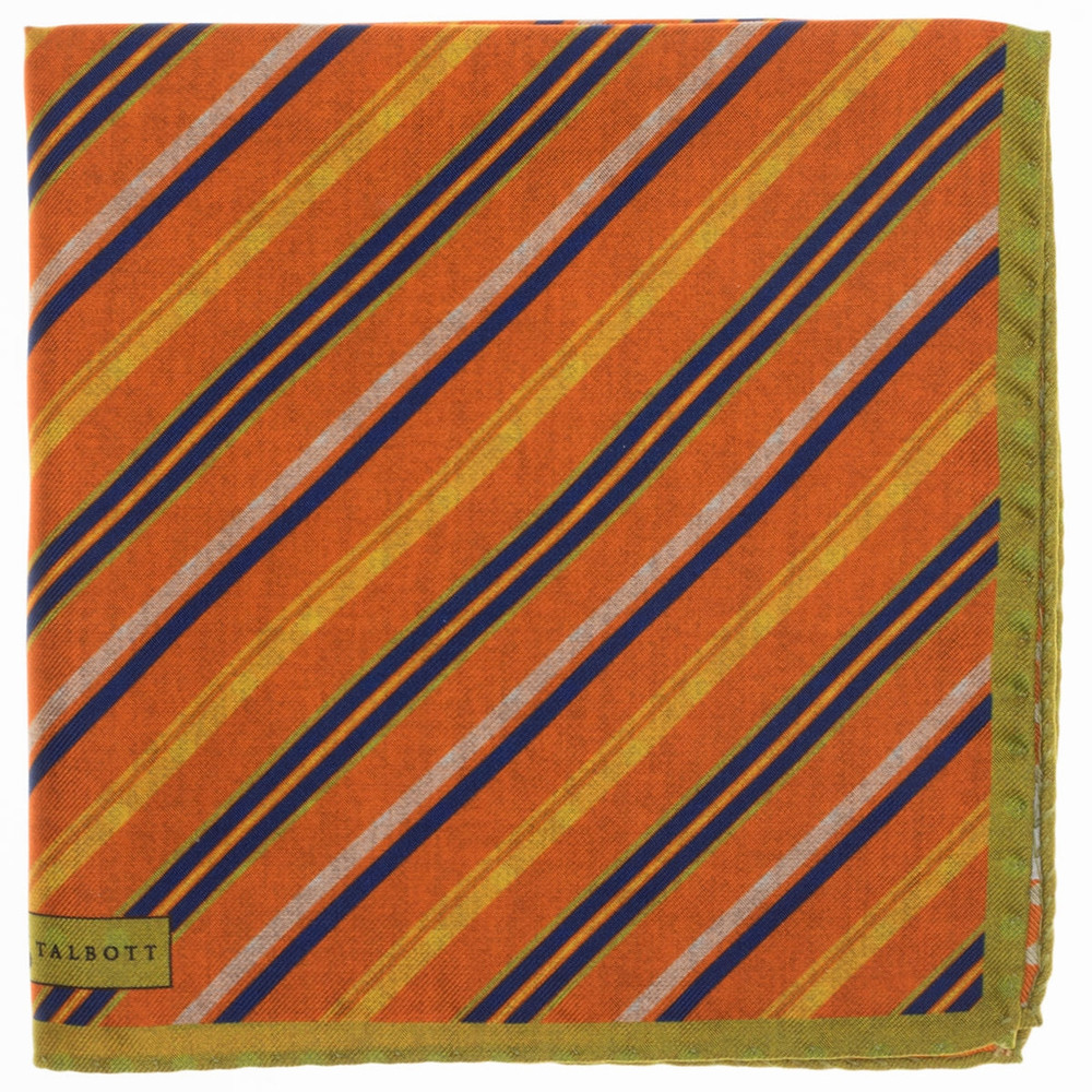Stripe Reversible Silk Pocket Square in Orange by Robert Talbott
