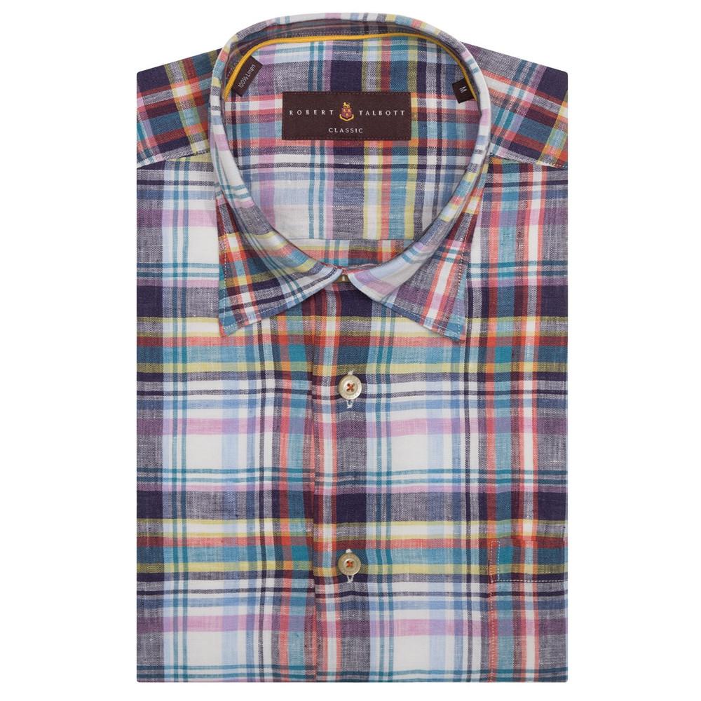 Navy multi check linen 39 anderson ii 39 sport shirt by robert for Robert talbott shirts sale