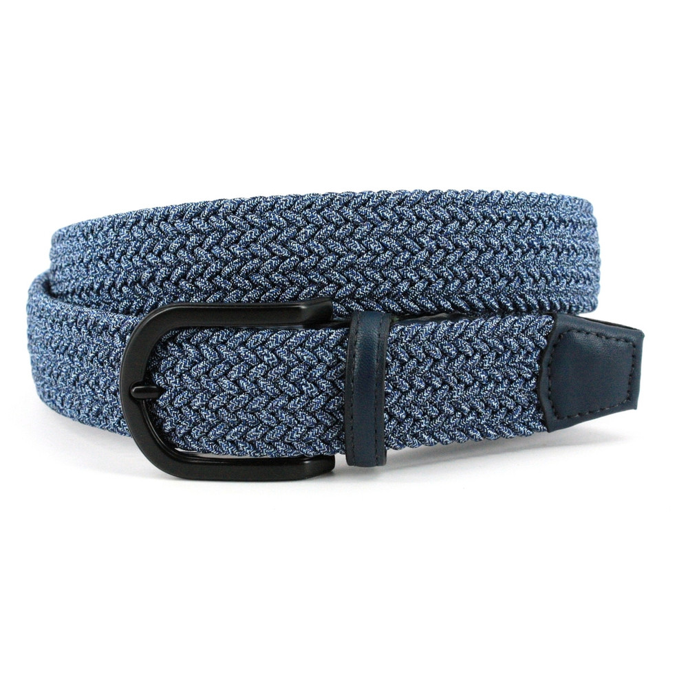 Italian Braided Melange Rayon Stretch Belt in Navy by Torino Leather Co.