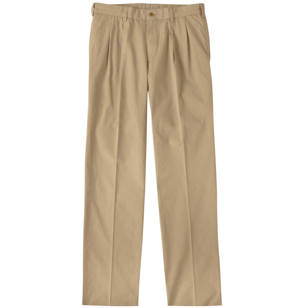 Tropical Poplin Pant - Model M2P Standard Fit Reverse Pleat in Khaki by Bills Khakis